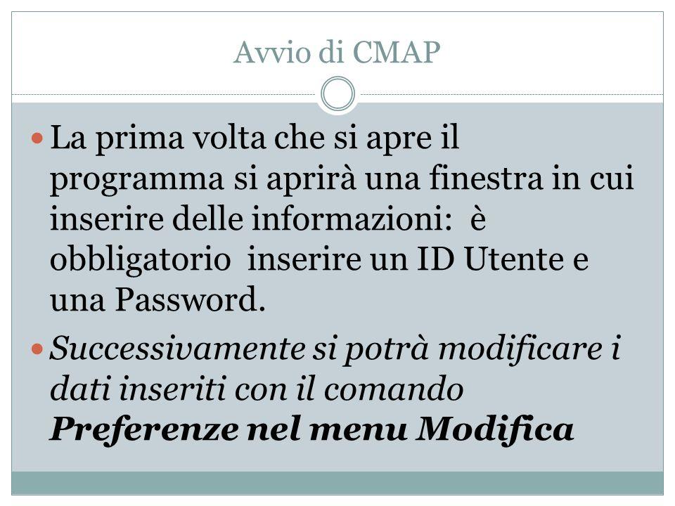 Avvio di CMAP La prima volta che si apre il programma si aprirà una finestra in cui inserire delle informazioni: è obbligatorio inserire un ID Utente