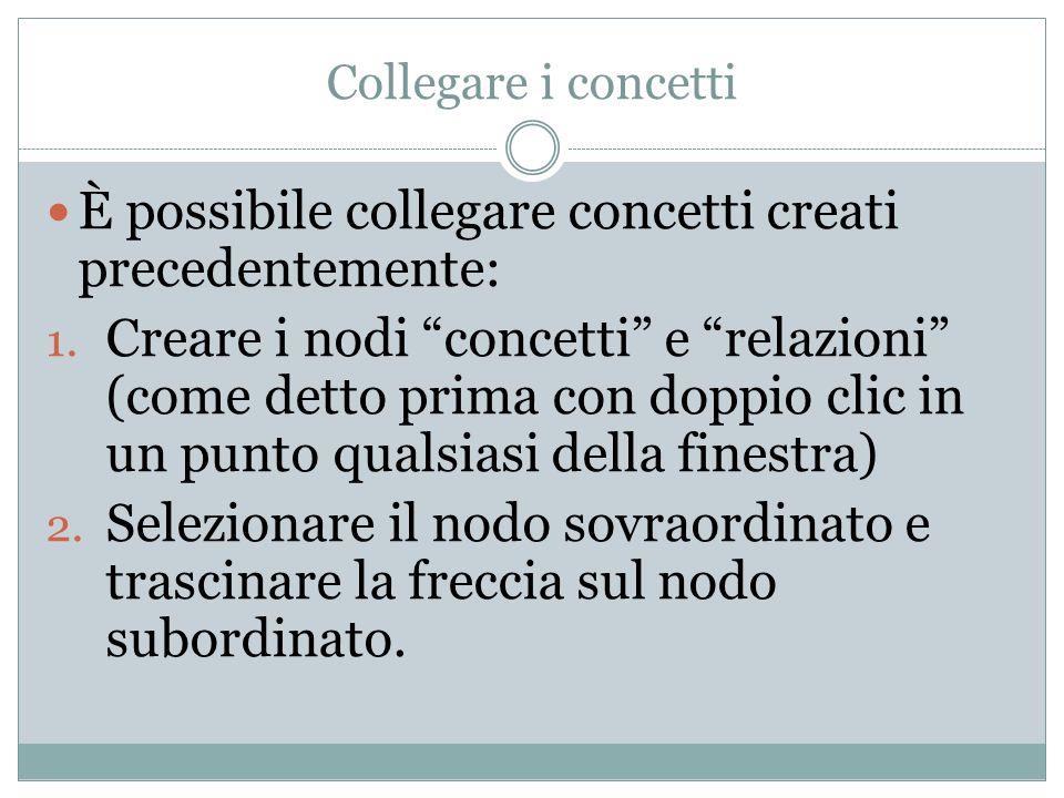 Collegare i concetti È possibile collegare concetti creati precedentemente: 1. Creare i nodi concetti e relazioni (come detto prima con doppio clic in