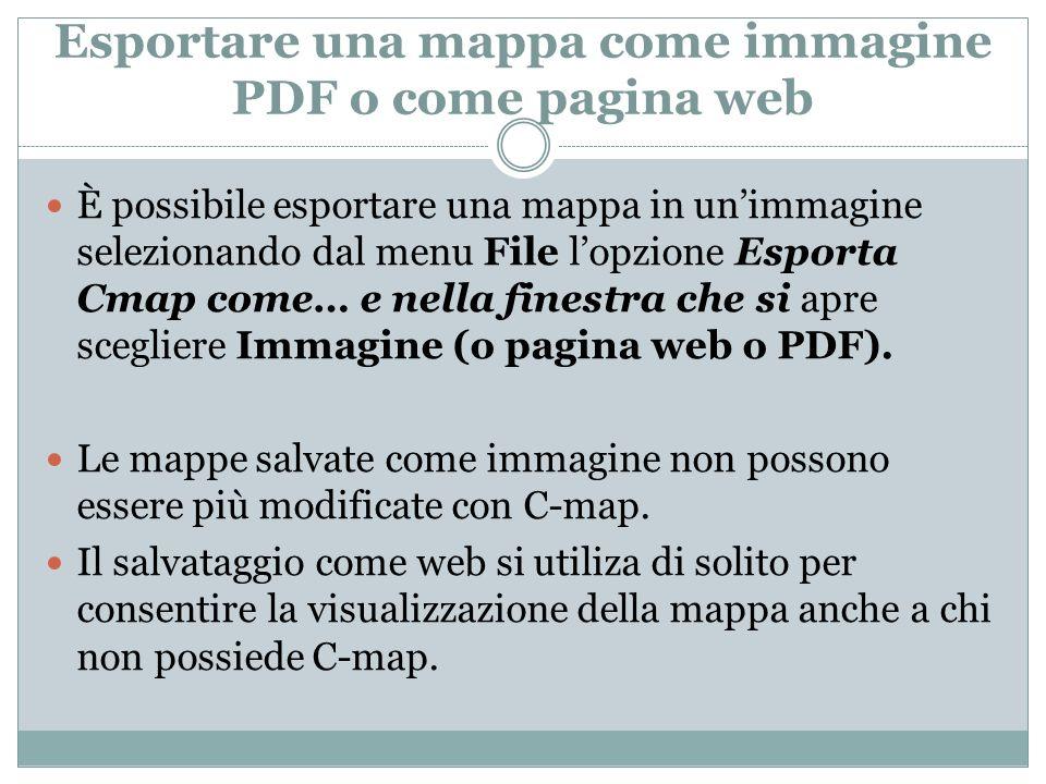 Esportare una mappa come immagine PDF o come pagina web È possibile esportare una mappa in unimmagine selezionando dal menu File lopzione Esporta Cmap