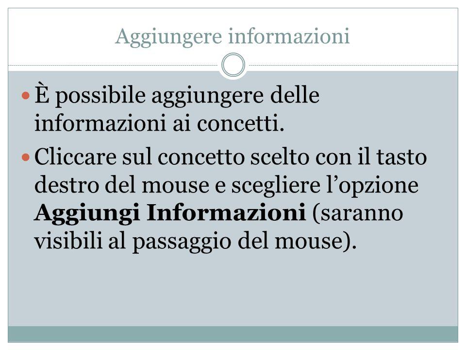 Aggiungere informazioni È possibile aggiungere delle informazioni ai concetti. Cliccare sul concetto scelto con il tasto destro del mouse e scegliere