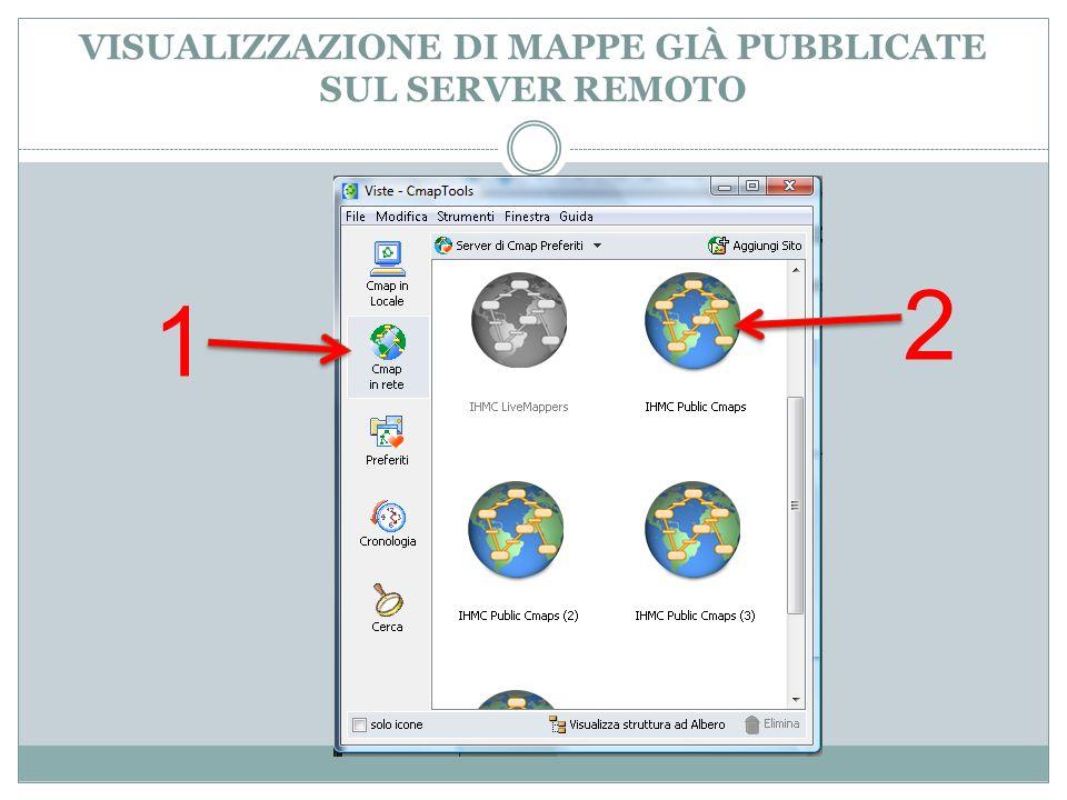 VISUALIZZAZIONE DI MAPPE GIÀ PUBBLICATE SUL SERVER REMOTO 1 2
