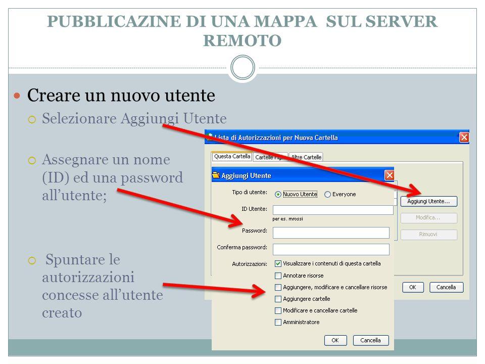 Creare un nuovo utente Selezionare Aggiungi Utente PUBBLICAZINE DI UNA MAPPA SUL SERVER REMOTO Assegnare un nome (ID) ed una password allutente; Spunt