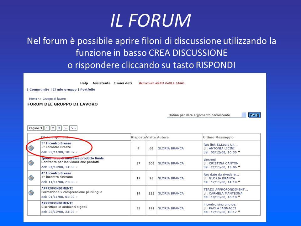 IL FORUM Nel forum è possibile aprire filoni di discussione utilizzando la funzione in basso CREA DISCUSSIONE o rispondere cliccando su tasto RISPONDI