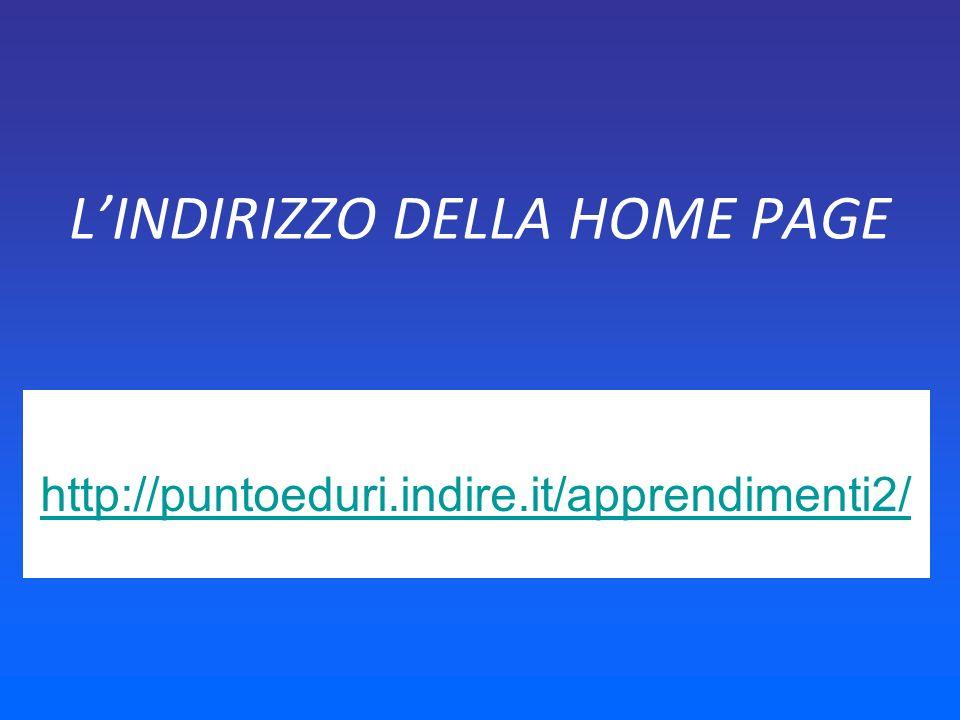 LINDIRIZZO DELLA HOME PAGE http://puntoeduri.indire.it/apprendimenti2/