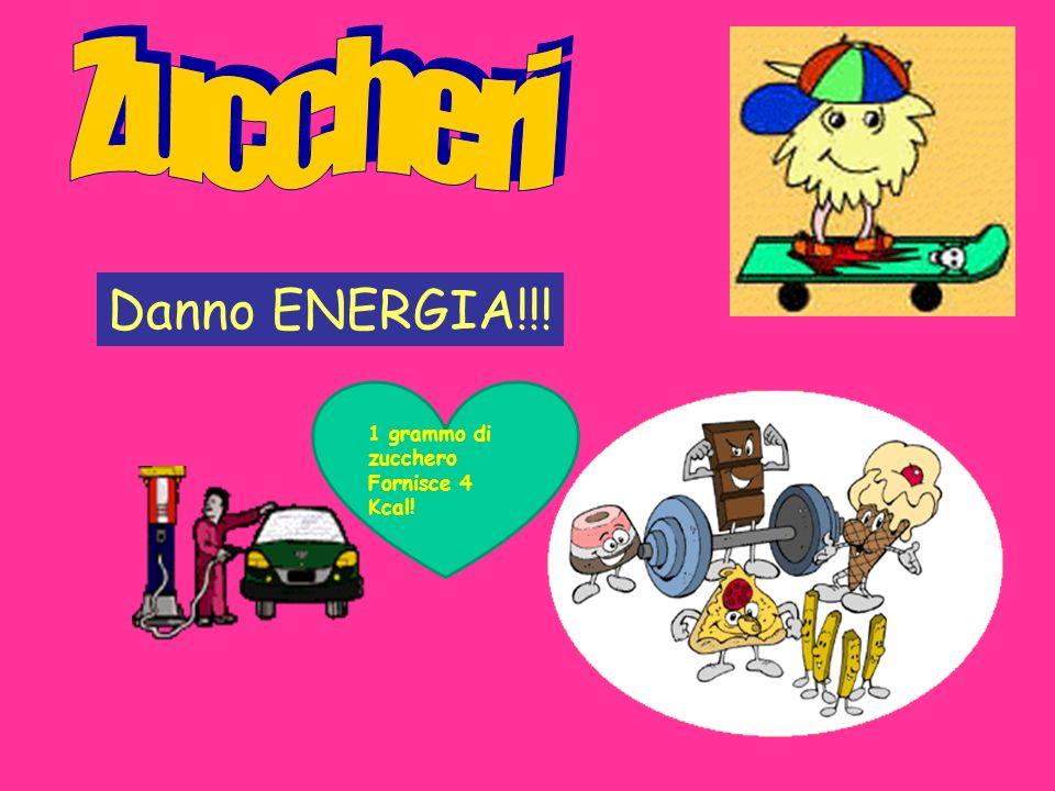 Danno ENERGIA!!! 1 grammo di zucchero Fornisce 4 Kcal!