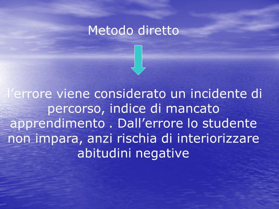 Metodo diretto lerrore viene considerato un incidente di percorso, indice di mancato apprendimento. Dallerrore lo studente non impara, anzi rischia di