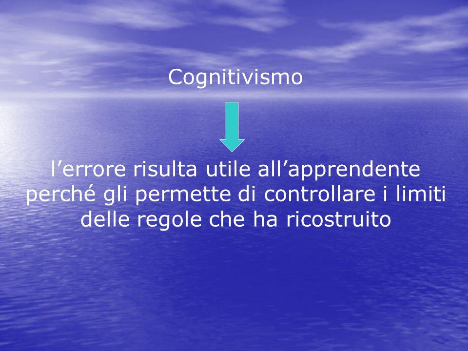 Cognitivismo lerrore risulta utile allapprendente perché gli permette di controllare i limiti delle regole che ha ricostruito