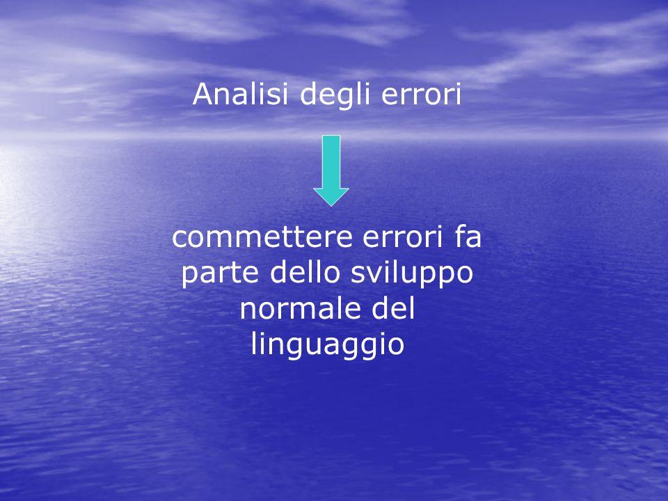 Analisi degli errori commettere errori fa parte dello sviluppo normale del linguaggio