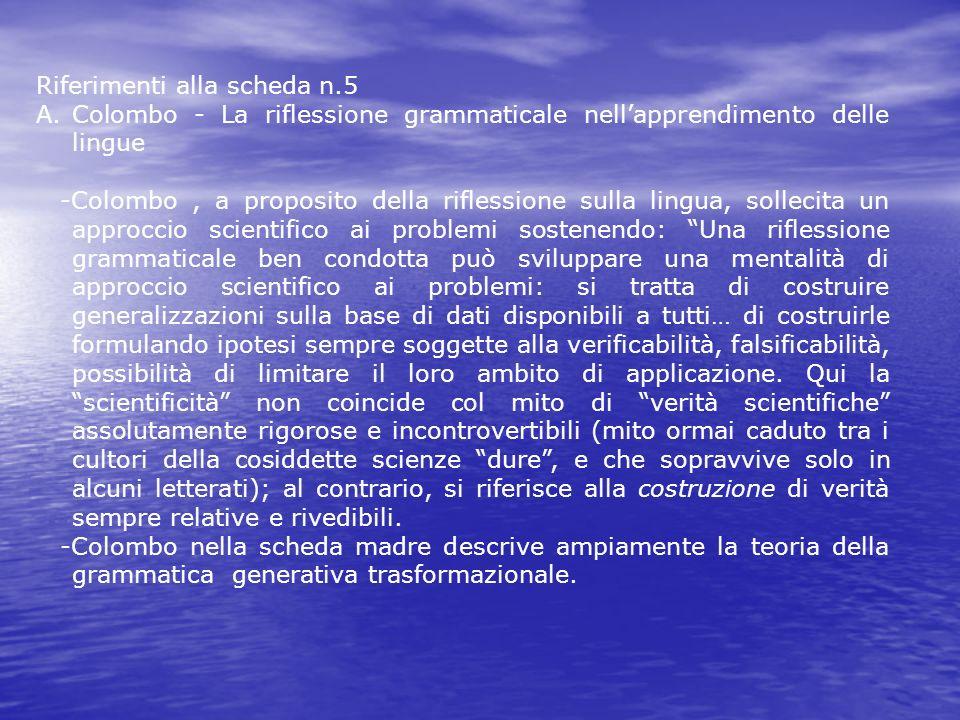 Riferimenti alla scheda n.5 A.Colombo - La riflessione grammaticale nellapprendimento delle lingue -Colombo, a proposito della riflessione sulla lingu