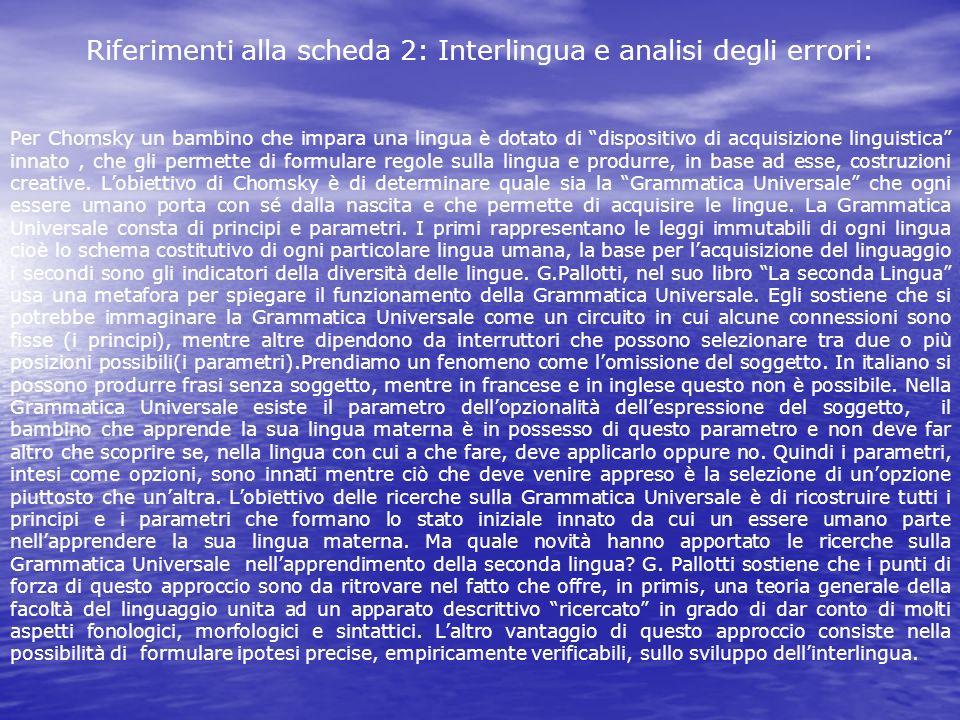 Riferimenti alla scheda 2: Interlingua e analisi degli errori: Per Chomsky un bambino che impara una lingua è dotato di dispositivo di acquisizione li
