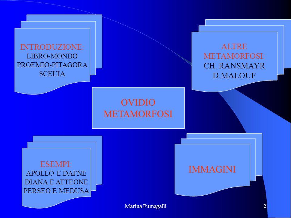 Marina Fumagalli2 OVIDIO METAMORFOSI INTRODUZIONE: LIBRO-MONDO PROEMIO-PITAGORA SCELTA ESEMPI: APOLLO E DAFNE DIANA E ATTEONE PERSEO E MEDUSA IMMAGINI