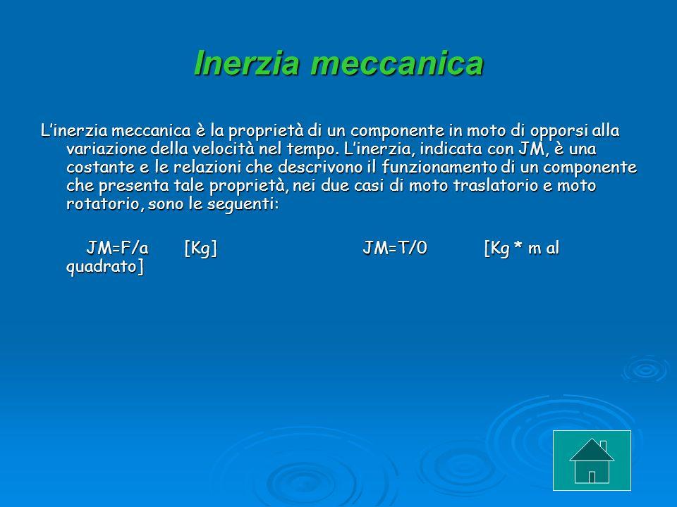Inerzia meccanica Linerzia meccanica è la proprietà di un componente in moto di opporsi alla variazione della velocità nel tempo. Linerzia, indicata c