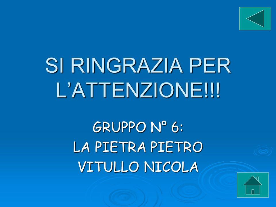 SI RINGRAZIA PER LATTENZIONE!!! GRUPPO N° 6: LA PIETRA PIETRO VITULLO NICOLA