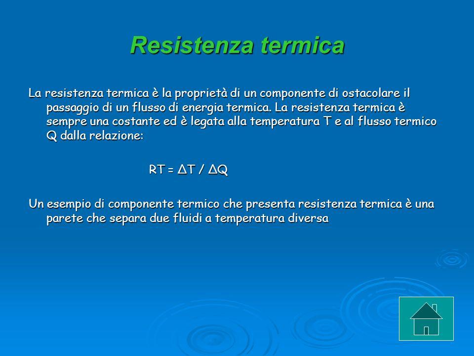 Resistenza termica La resistenza termica è la proprietà di un componente di ostacolare il passaggio di un flusso di energia termica. La resistenza ter