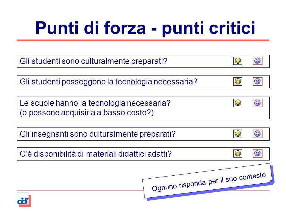 Punti di forza - punti critici Gli studenti sono culturalmente preparati?Gli insegnanti sono culturalmente preparati?Gli studenti posseggono la tecnol
