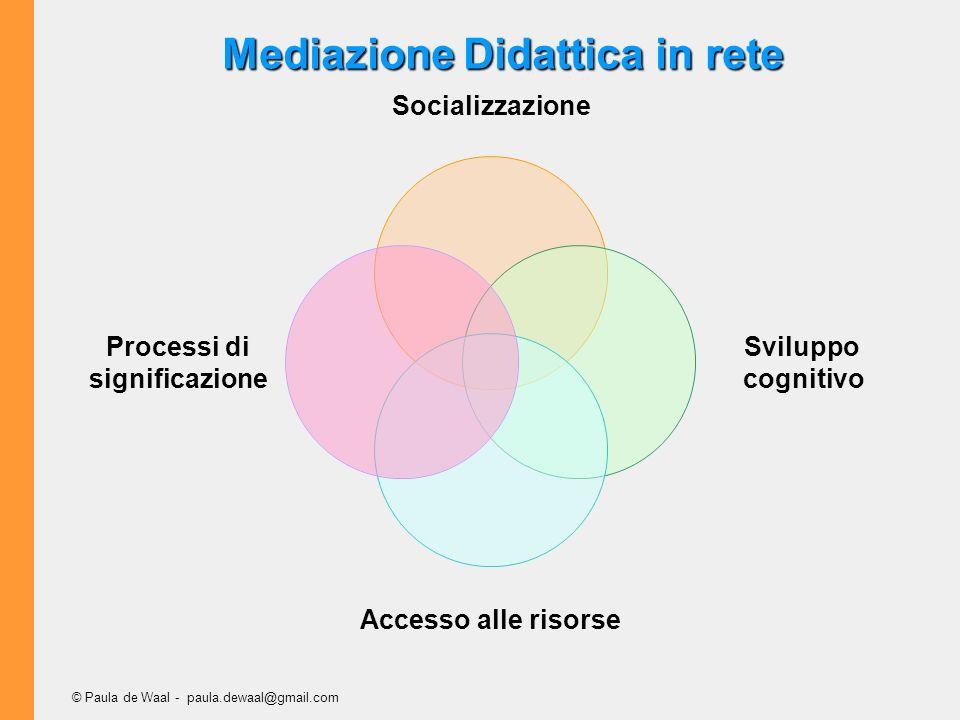 © Paula de Waal - paula.dewaal@gmail.com Socializzazione Sviluppo cognitivo Accesso alle risorse Processi di significazione Mediazione Didattica in rete