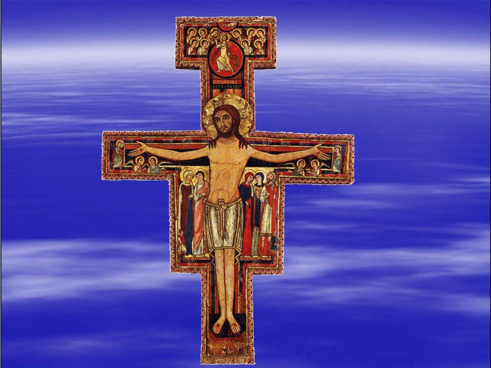 In questa croce di San Damiano, il Cristo vi è rappresentato vivente, trionfatore della morte ed è al centro dellopera. Attraverso una certa scelta de