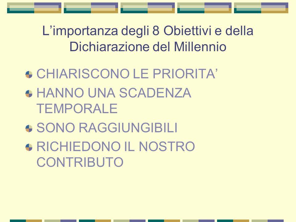 Limportanza degli 8 Obiettivi e della Dichiarazione del Millennio CHIARISCONO LE PRIORITA HANNO UNA SCADENZA TEMPORALE SONO RAGGIUNGIBILI RICHIEDONO IL NOSTRO CONTRIBUTO
