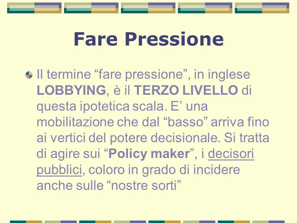 Fare Pressione Il termine fare pressione, in inglese LOBBYING, è il TERZO LIVELLO di questa ipotetica scala.