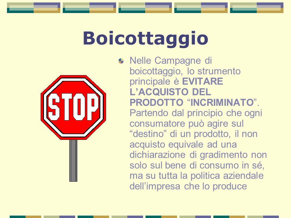 Boicottaggio Nelle Campagne di boicottaggio, lo strumento principale è EVITARE LACQUISTO DEL PRODOTTO INCRIMINATO.