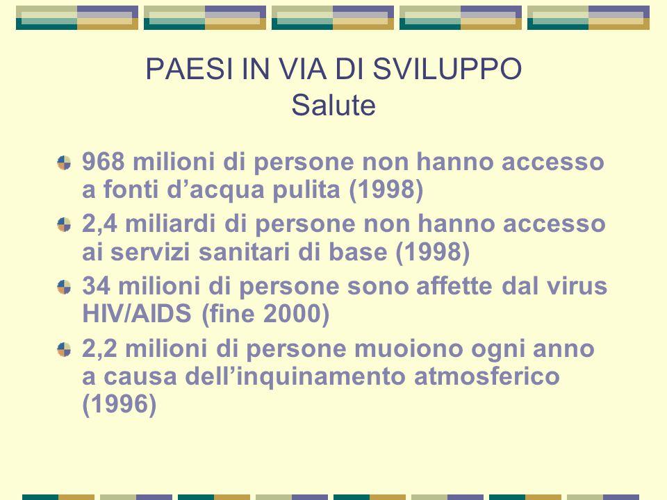 PAESI IN VIA DI SVILUPPO Salute 968 milioni di persone non hanno accesso a fonti dacqua pulita (1998) 2,4 miliardi di persone non hanno accesso ai servizi sanitari di base (1998) 34 milioni di persone sono affette dal virus HIV/AIDS (fine 2000) 2,2 milioni di persone muoiono ogni anno a causa dellinquinamento atmosferico (1996)