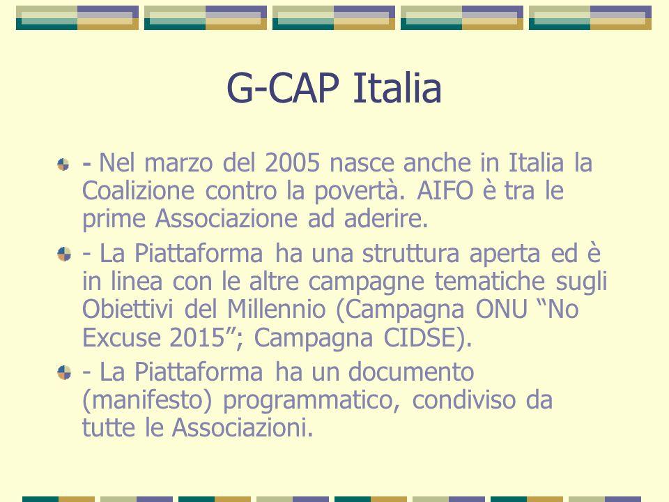 G-CAP Italia - Nel marzo del 2005 nasce anche in Italia la Coalizione contro la povertà.