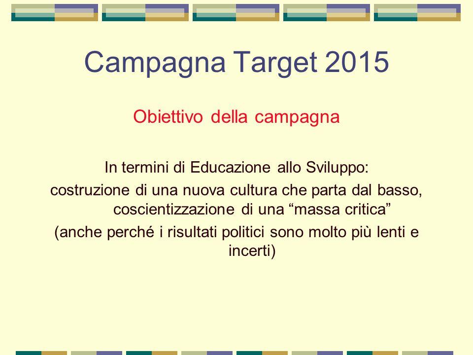 Campagna Target 2015 Obiettivo della campagna In termini di Educazione allo Sviluppo: costruzione di una nuova cultura che parta dal basso, coscientizzazione di una massa critica (anche perché i risultati politici sono molto più lenti e incerti)