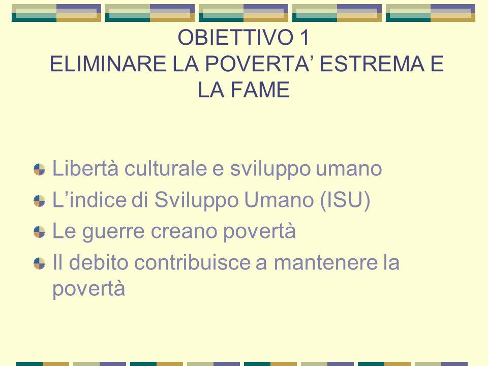 OBIETTIVO 1 ELIMINARE LA POVERTA ESTREMA E LA FAME Libertà culturale e sviluppo umano Lindice di Sviluppo Umano (ISU) Le guerre creano povertà Il debito contribuisce a mantenere la povertà