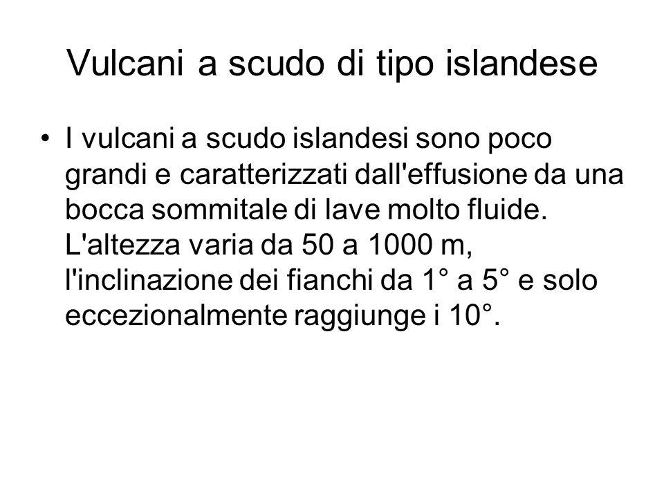 Vulcani a scudo di tipo islandese I vulcani a scudo islandesi sono poco grandi e caratterizzati dall effusione da una bocca sommitale di lave molto fluide.