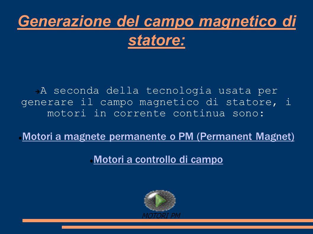 Generazione del campo magnetico di statore: A seconda della tecnologia usata per generare il campo magnetico di statore, i motori in corrente continua