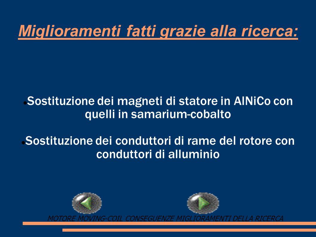 Miglioramenti fatti grazie alla ricerca: Sostituzione dei magneti di statore in AlNiCo con quelli in samarium-cobalto Sostituzione dei conduttori di r