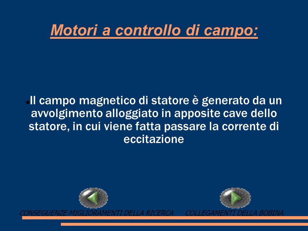 Motori a controllo di campo: Il campo magnetico di statore è generato da un avvolgimento alloggiato in apposite cave dello statore, in cui viene fatta