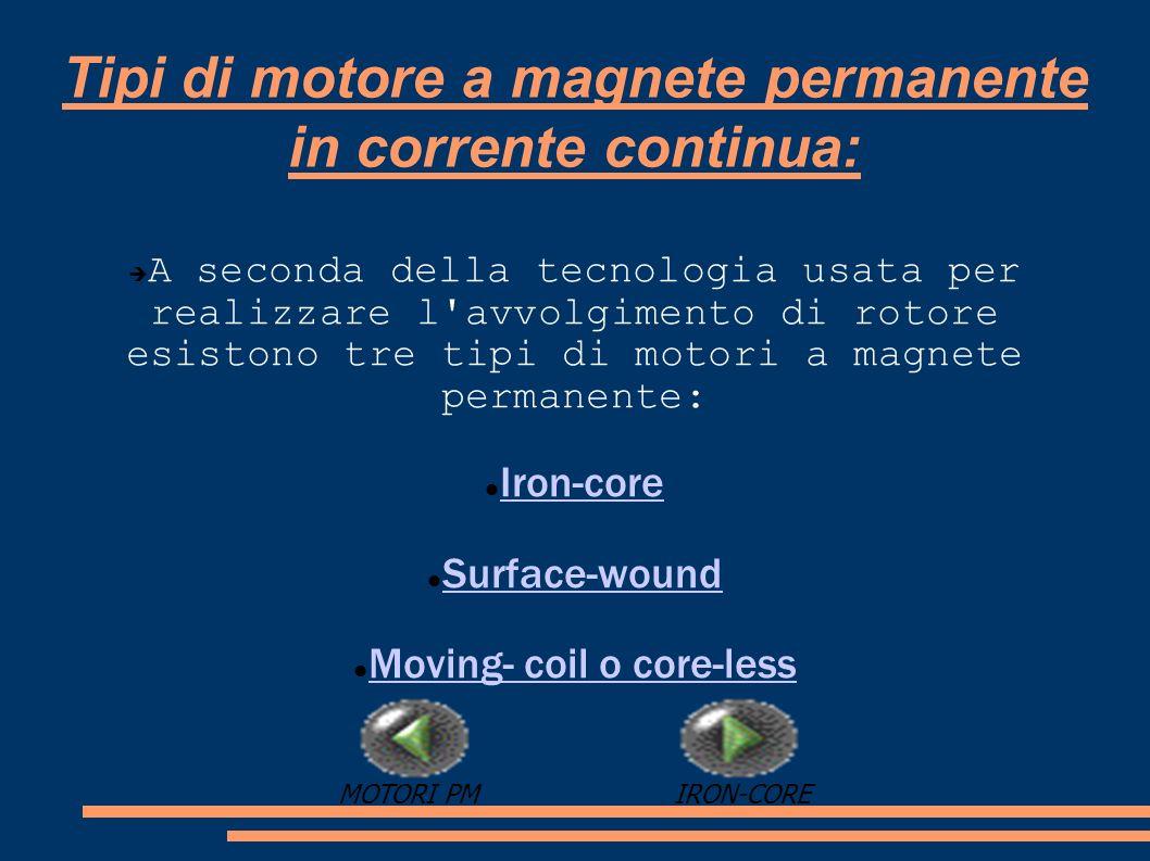 Tipi di motore a magnete permanente in corrente continua: A seconda della tecnologia usata per realizzare l'avvolgimento di rotore esistono tre tipi d