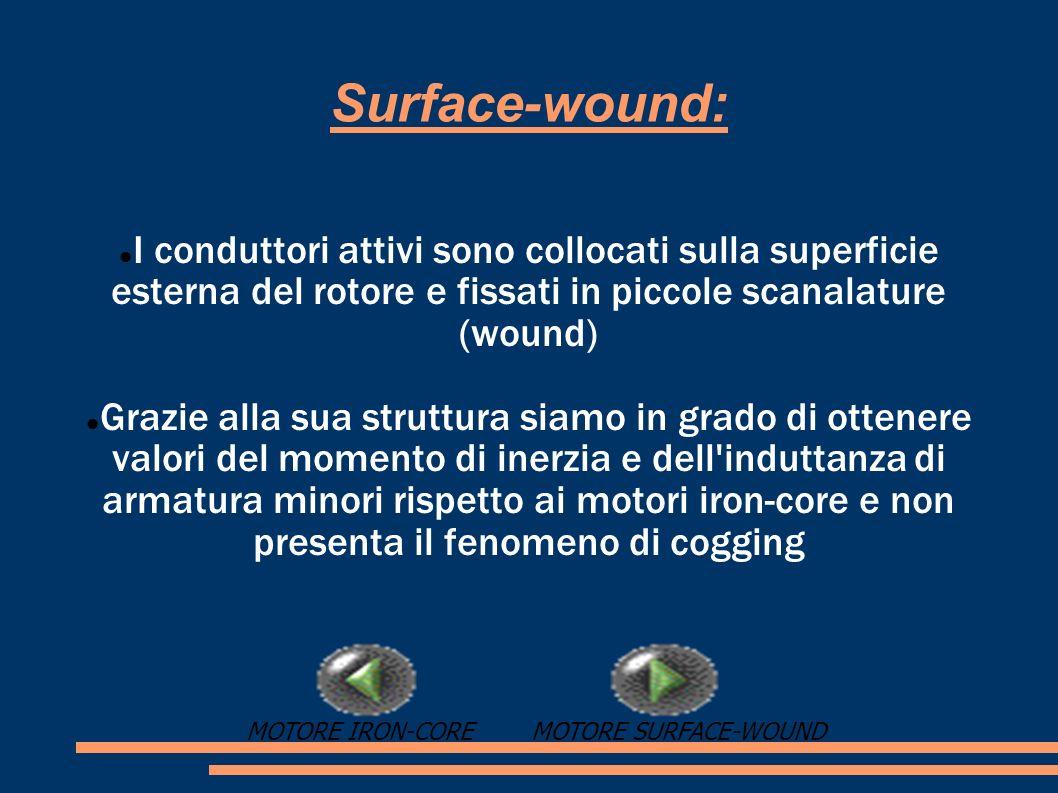 Surface-wound: I conduttori attivi sono collocati sulla superficie esterna del rotore e fissati in piccole scanalature (wound) Grazie alla sua struttu