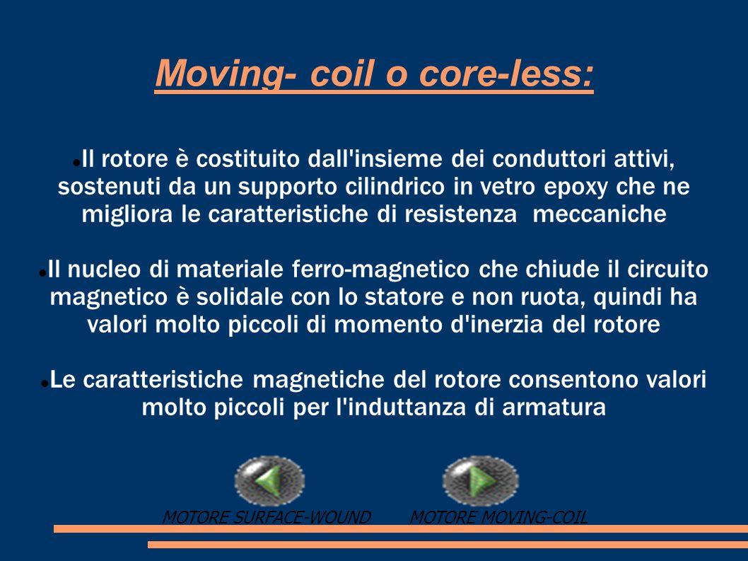 Moving- coil o core-less: Il rotore è costituito dall'insieme dei conduttori attivi, sostenuti da un supporto cilindrico in vetro epoxy che ne miglior