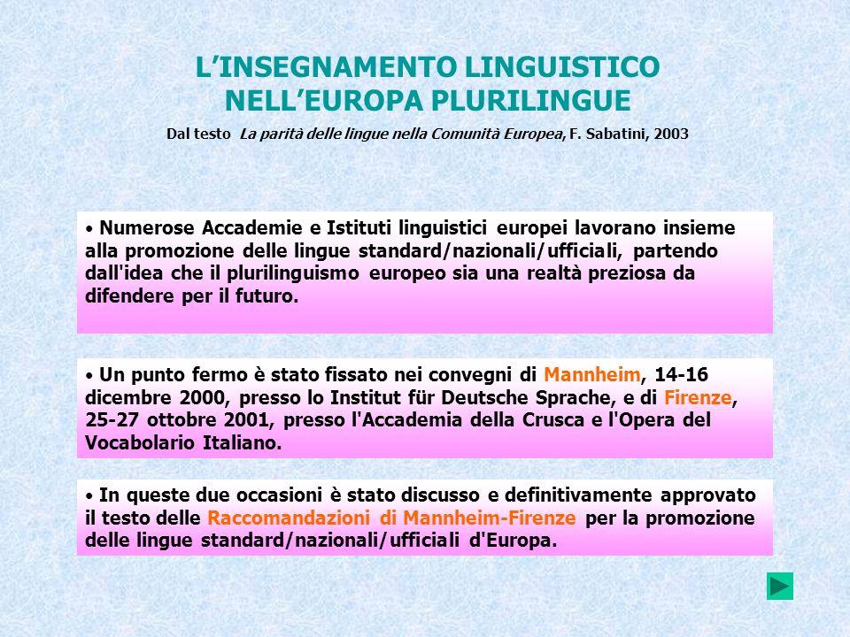 LINSEGNAMENTO LINGUISTICO NELLEUROPA PLURILINGUE Dal testo La parità delle lingue nella Comunità Europea, F. Sabatini, 2003 Numerose Accademie e Istit