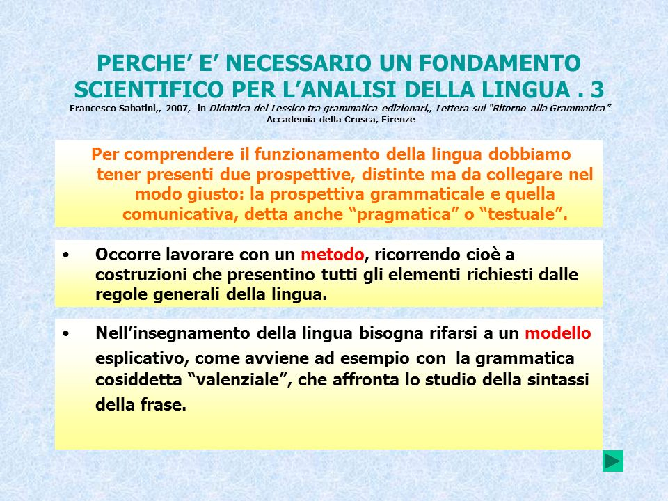 PERCHE E NECESSARIO UN FONDAMENTO SCIENTIFICO PER LANALISI DELLA LINGUA. 3 Francesco Sabatini,, 2007, in Didattica del Lessico tra grammatica ediziona