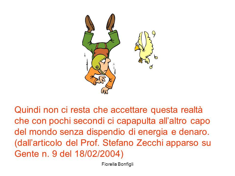 Fiorella Bonfigli Quindi non ci resta che accettare questa realtà che con pochi secondi ci capapulta allaltro capo del mondo senza dispendio di energi