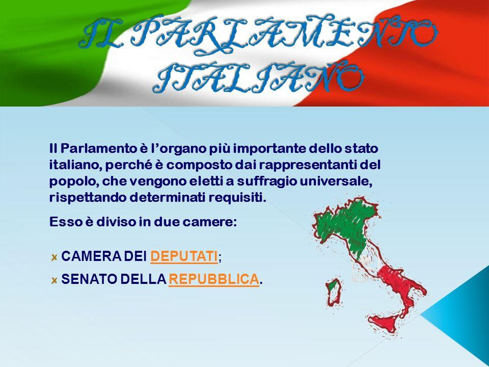 Il Parlamento è lorgano più importante dello stato italiano, perché è composto dai rappresentanti del popolo, che vengono eletti a suffragio universal