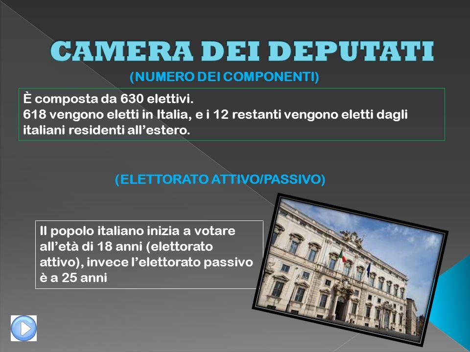 (NUMERO DEI COMPONENTI) È composta da 630 elettivi. 618 vengono eletti in Italia, e i 12 restanti vengono eletti dagli italiani residenti allestero. (