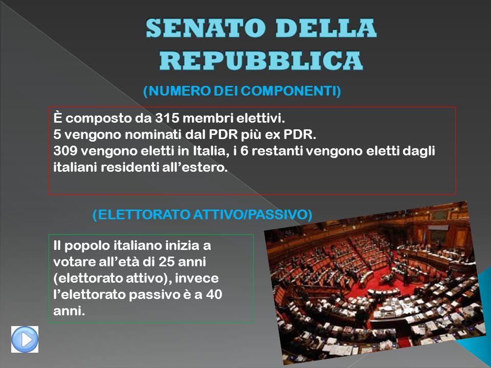 (ELETTORATO ATTIVO/PASSIVO) (NUMERO DEI COMPONENTI) È composto da 315 membri elettivi. 5 vengono nominati dal PDR più ex PDR. 309 vengono eletti in It