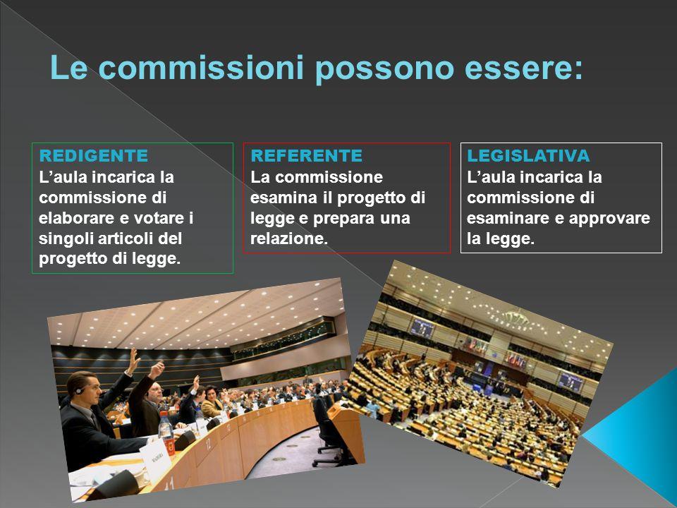 REFERENTE La commissione esamina il progetto di legge e prepara una relazione. REDIGENTE Laula incarica la commissione di elaborare e votare i singoli