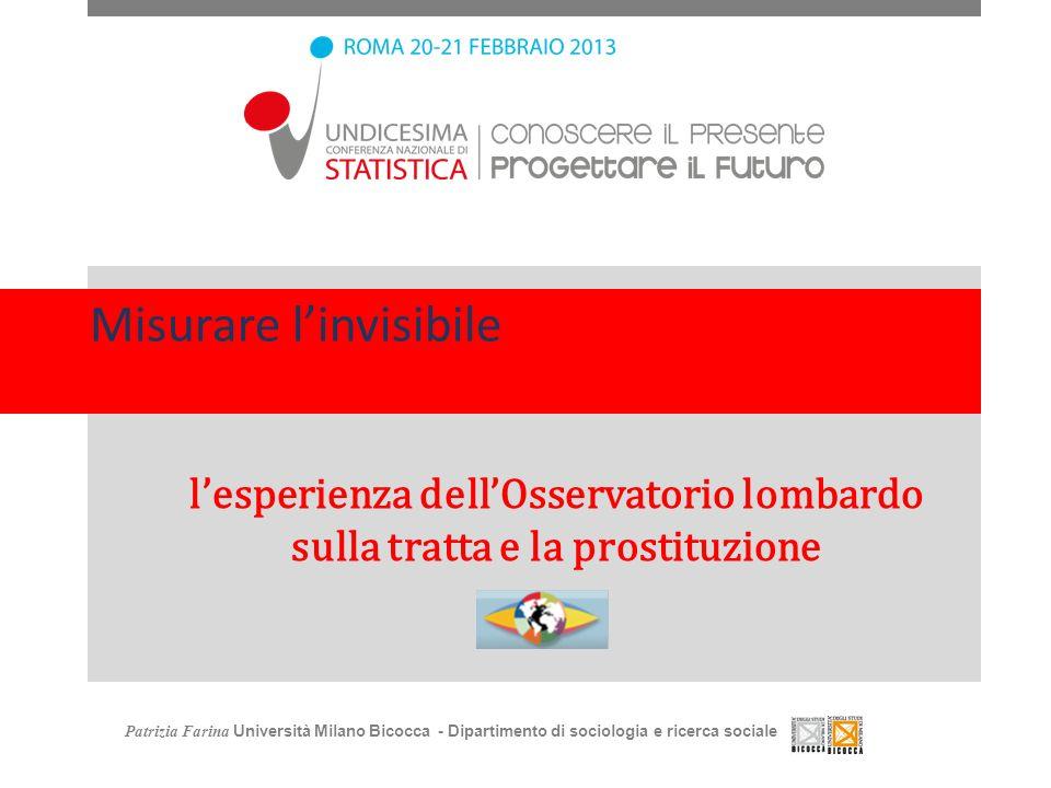 Misurare linvisibile lesperienza dellOsservatorio lombardo sulla tratta e la prostituzione Patrizia Farina Università Milano Bicocca - Dipartimento di