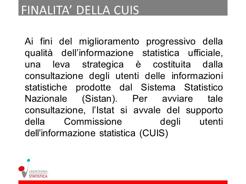 FINALITA DELLA CUIS Ai fini del miglioramento progressivo della qualità dellinformazione statistica ufficiale, una leva strategica è costituita dalla