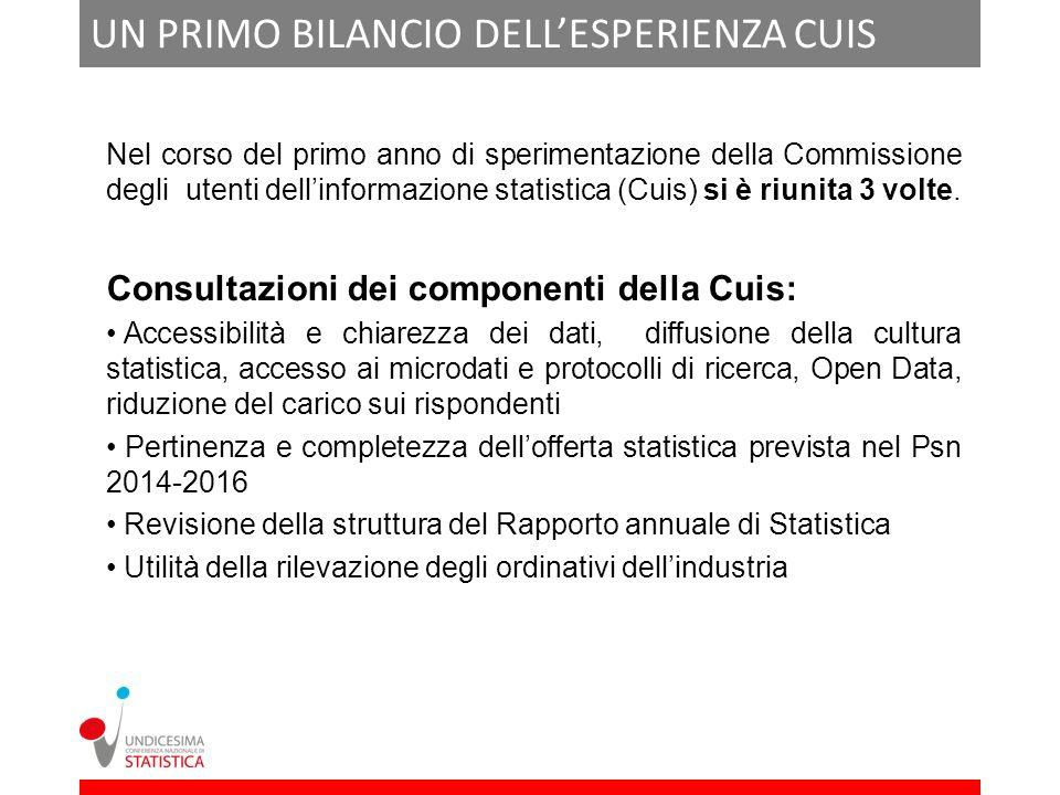 UN PRIMO BILANCIO DELLESPERIENZA CUIS Nel corso del primo anno di sperimentazione della Commissione degli utenti dellinformazione statistica (Cuis) si