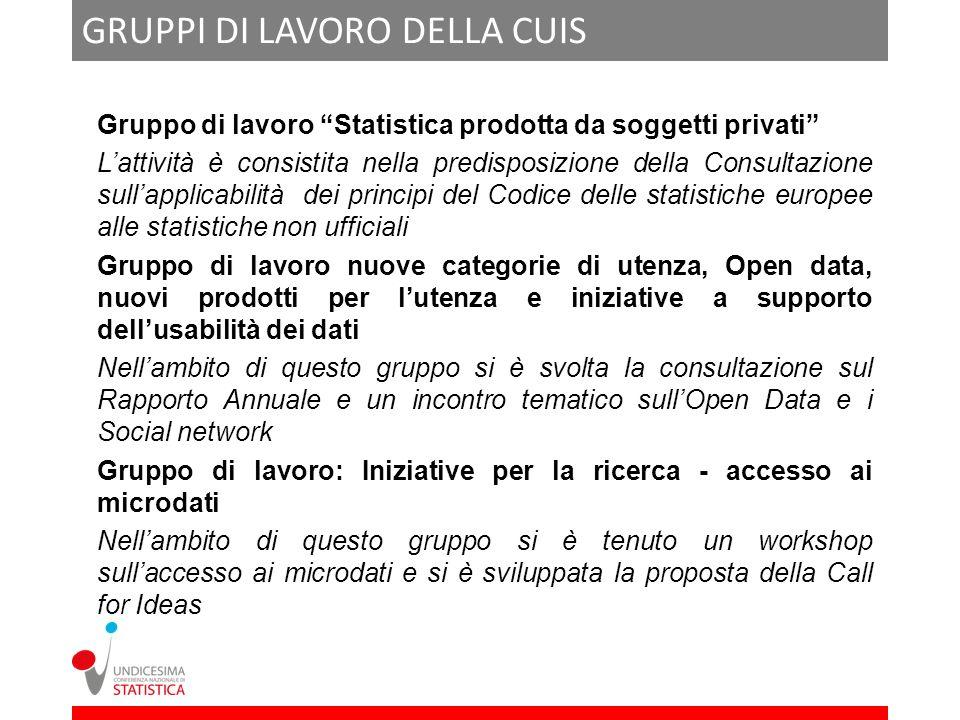 GRUPPI DI LAVORO DELLA CUIS Gruppo di lavoro Statistica prodotta da soggetti privati Lattività è consistita nella predisposizione della Consultazione