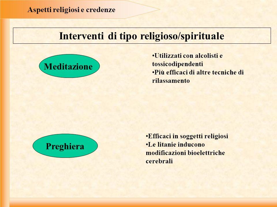 Aspetti religiosi e credenze Interventi di tipo religioso/spirituale Meditazione Preghiera Utilizzati con alcolisti e tossicodipendenti Più efficaci d