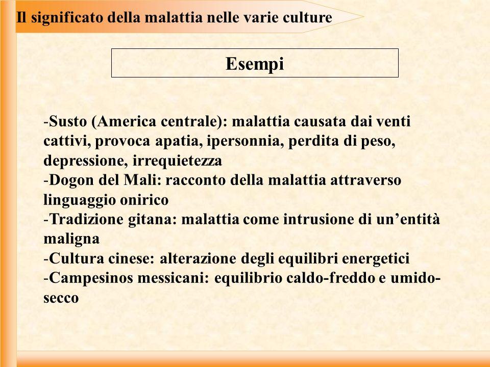 Il significato della malattia nelle varie culture Esempi -Susto (America centrale): malattia causata dai venti cattivi, provoca apatia, ipersonnia, pe