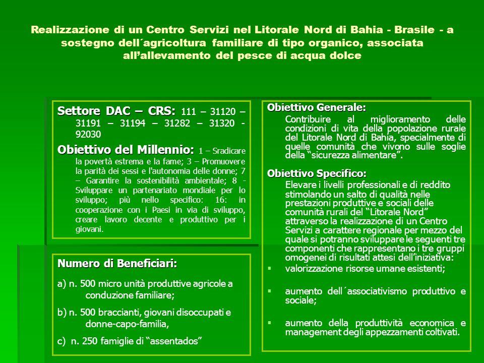 Obiettivo Generale: Contribuire al miglioramento delle condizioni di vita della popolazione rurale del Litorale Nord di Bahia, specialmente di quelle comunità che vivono sulle soglie della sicurezza alimentare.