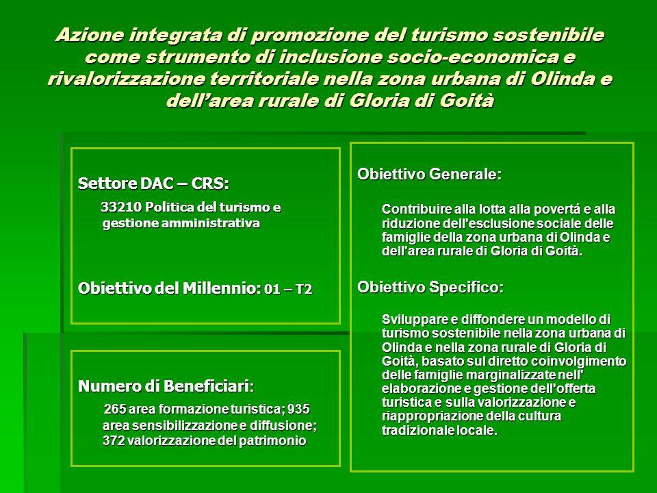 Obiettivo Generale: Contribuire alla lotta alla povertá e alla riduzione dell esclusione sociale delle famiglie della zona urbana di Olinda e dell area rurale di Gloria di Goità.